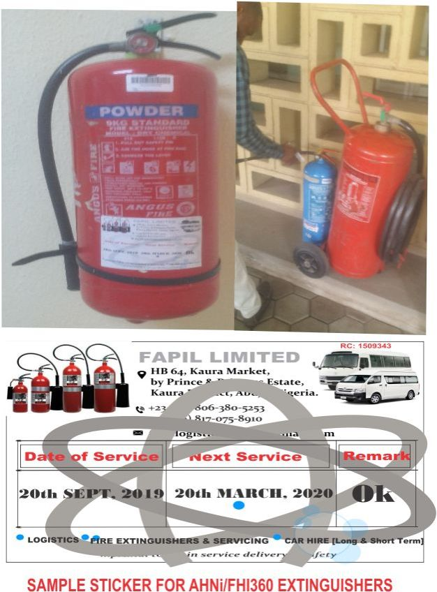 Dhaxle Sample Stickers on Fire Extinguishers for Routine Maintenance