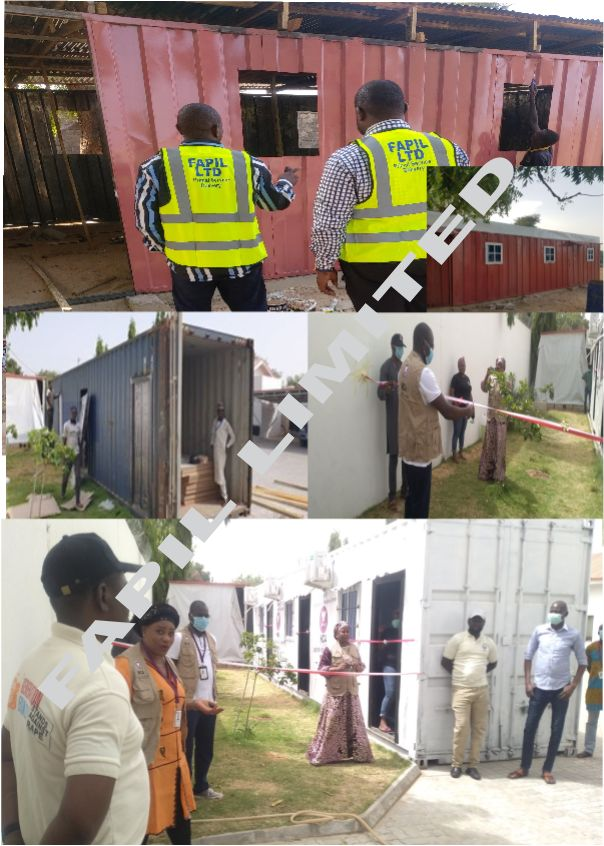Dhaxle Construction of 40Ft, 34Ft and 20Ft Containers for Office space, Temporary Health Setup, and Open hall for sensitization centres in IDP's and LGA's