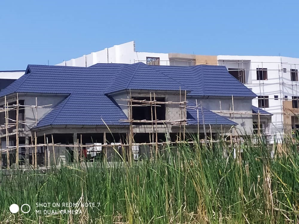 Dhaxle 6 rooms duplex with blue classic metro tile roofing sheets, Aja, Lagos