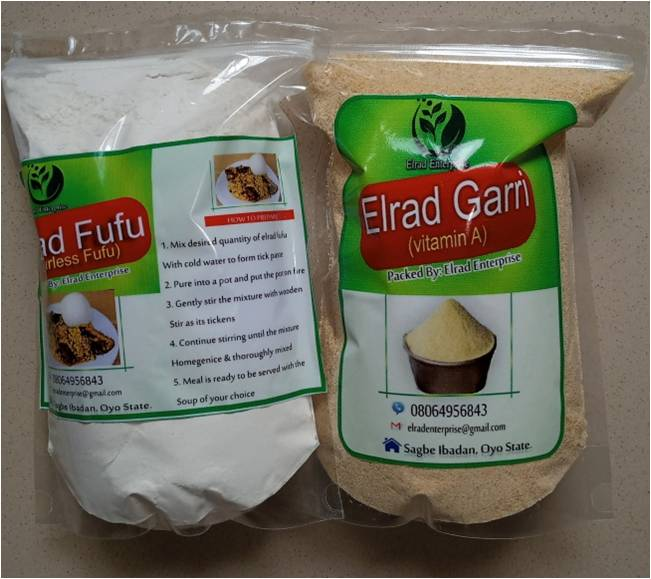 Dhaxle Elrad Odorless Fufu and Elrad Vitamin A Garri products of cassava value chain